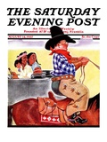 """Modern Indians and Dude "" Saturday Evening Post Cover  August 14  1937"