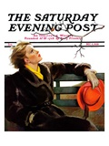 """Fall in the Park "" Saturday Evening Post Cover  December 3  1938"