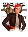 """Matching Monkey Hats "" Saturday Evening Post Cover  March 26  1938"