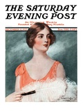 """""""White Feathered Fan """" Saturday Evening Post Cover  December 12  1925"""