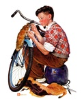 """Decorating His Bike ""March 20  1937"