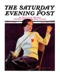 """Female Fencer "" Saturday Evening Post Cover  April 1  1933"