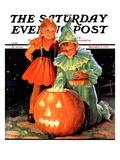 """Lighting the Pumpkin "" Saturday Evening Post Cover  November 3  1934"