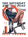 """""""Sleeping Uncle Sam """" Saturday Evening Post Cover  July 5  1924"""