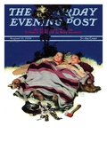 """Camping Out "" Saturday Evening Post Cover  August 13  1938"