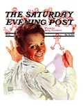 """Boy Drawing Stick Figures "" Saturday Evening Post Cover  December 11  1937"