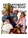 """World's Fair Traveler "" Saturday Evening Post Cover  July 15  1939"