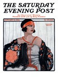 """""""Flapper in Shawl and Beads """" Saturday Evening Post Cover  January 19  1924"""