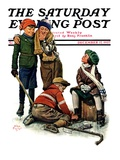 """Hockey Waits  Tying Skates "" Saturday Evening Post Cover  December 17  1927"