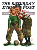 """Football Huddle "" Saturday Evening Post Cover  November 12  1927"
