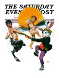 """""""Dancing in Spring """" Saturday Evening Post Cover  March 16  1929"""
