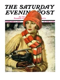 """""""Woman with Ice Skates """" Saturday Evening Post Cover  February 5  1927"""