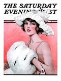 """Ermine Muff "" Saturday Evening Post Cover  January 6  1923"