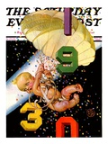 """""""Parachuting Baby New Year """" Saturday Evening Post Cover  December 28  1929"""