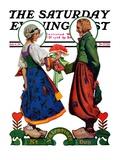 """Dutch Couple Valentine "" Saturday Evening Post Cover  February 9  1929"