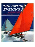 """Iceboats Racing "" Saturday Evening Post Cover  February 18  1939"