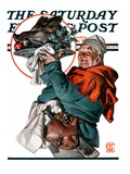 """""""Christmas Boar """" Saturday Evening Post Cover  December 20  1924"""