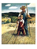 """Father and Son on Hay Wagon ""June 1  1944"