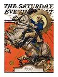 """George Washington on Horseback "" Saturday Evening Post Cover  July 2  1927"