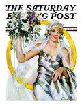 """""""Bride and Bouquet """" Saturday Evening Post Cover  October 13  1928"""