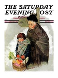 """""""Waiting for the Bus """" Saturday Evening Post Cover  December 13  1930"""