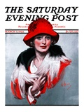 """Woman in Red Hat "" Saturday Evening Post Cover  March 3  1923"