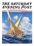 """America's Cup Race "" Saturday Evening Post Cover  September 20  1930"