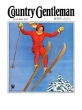 """Woman Ski Jumper "" Country Gentleman Cover  January 1  1934"