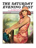 """""""Pretty in Pink """" Saturday Evening Post Cover  August 2  1930"""