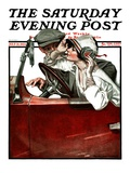 """""""Woman Driver """" Saturday Evening Post Cover  July 21  1923"""