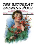 """""""Woman and Flowering Twigs """" Saturday Evening Post Cover  May 21  1927"""