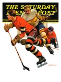 """Ice Hockey Match "" Saturday Evening Post Cover  January 18  1936"