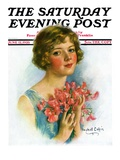 """""""Woman and Flowers """" Saturday Evening Post Cover  June 12  1926"""
