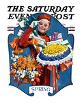 """""""Bellhop and Bouquets """" Saturday Evening Post Cover  March 29  1930"""