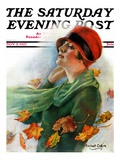 """""""Fall Leaves """" Saturday Evening Post Cover  November 5  1927"""