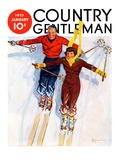 """Couple Downhill Skiing "" Country Gentleman Cover  January 1  1937"