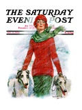 """""""Lady Walking Dogs in Snow """" Saturday Evening Post Cover  December 11  1926"""