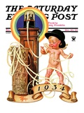 """New Year Tickertape "" Saturday Evening Post Cover  December 30  1933"