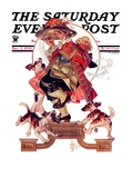 """Begging for Turkey "" Saturday Evening Post Cover  December 2  1933"