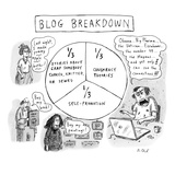 """CAPTIONLESS Title: """"BLOG BREAKDOWN"""" On graph: """"1/3 Crap somebody cooked  …"""" - New Yorker Cartoon"""
