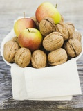 Walnuts and Apples on Cloth in White Bowl Papier Photo