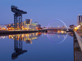 UK  Scotland  Glasgow  River Clyde  Finnieston Crane and the Clyde Arc  Nicknamed the Squinty Bridg