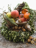 Christmas Decoration: Fruit, Nuts, Cones and Box Wreath Papier Photo