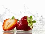 Strawberries with Splashing Water