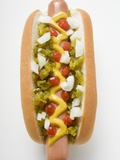 Hot Dog with Relish  Mustard  Ketchup and Onions