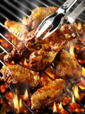 Chicken Wings on Barbecue Rack