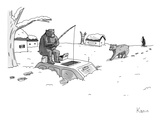 Bears above the snowstorm fish for humans trapped in a car - New Yorker Cartoon
