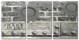 Grey Industrial USA Triptych Art
