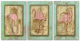 Vintage Pink Flamingo Trio Triptych Art