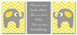 Yellow Chevron Elephants Love Trio